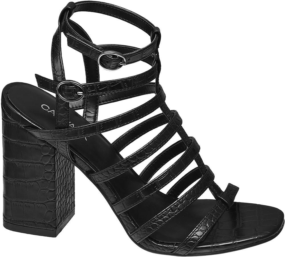 czarne sandały damskie Catwalk na blokowym obcasie