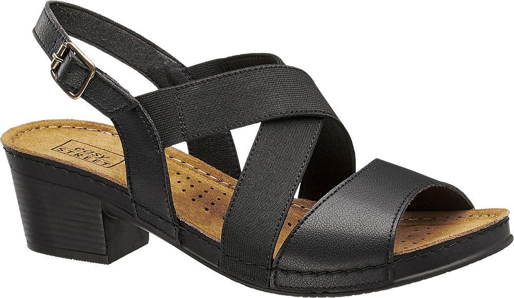 czarne sandały damskie Easy Street na obcasie