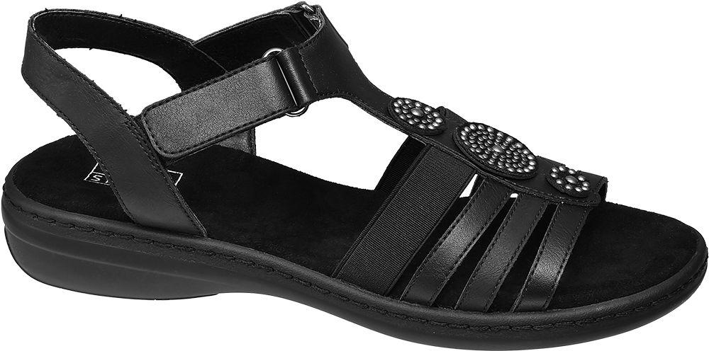 czarne sandały damskie Easy Street ozdobione nitami