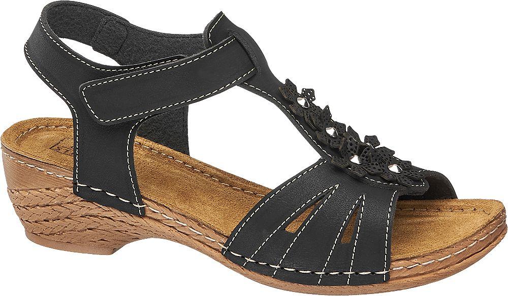 czarne sandały damskie Easy Street z białymi przeszyciami