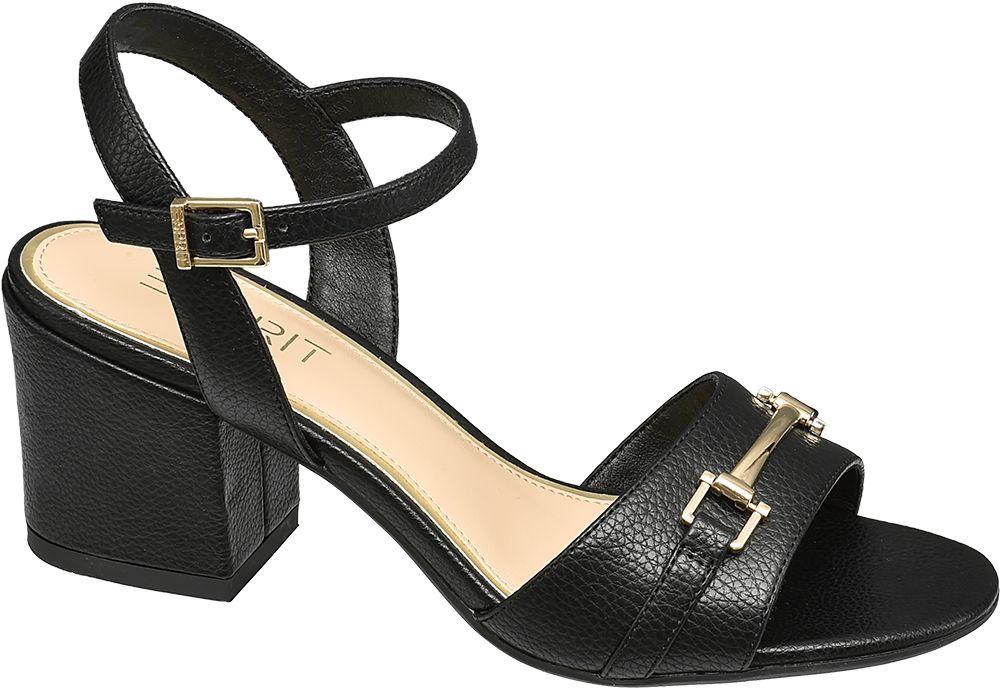 czarne sandały damskie Esprit na obcasie