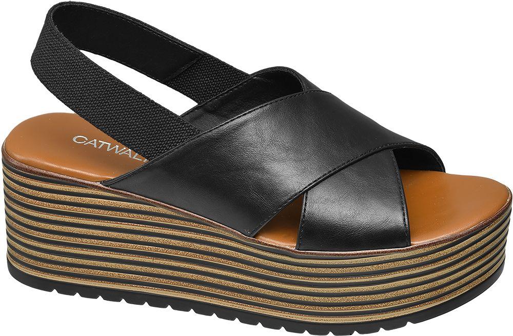 czarne sandały damskie Graceland na platformie