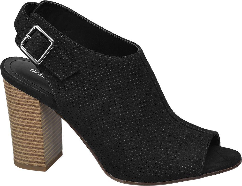 czarne sandały damskie Graceland na brązowym obcasie