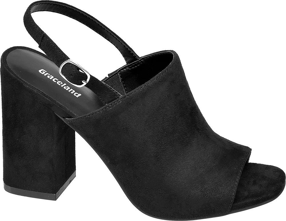 czarne sandały damskie Graceland na masywnym obcasie