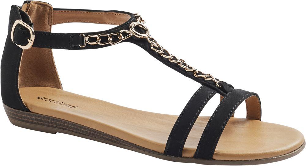 czarne sandały damskie Graceland ozdobione łańcuszkiem