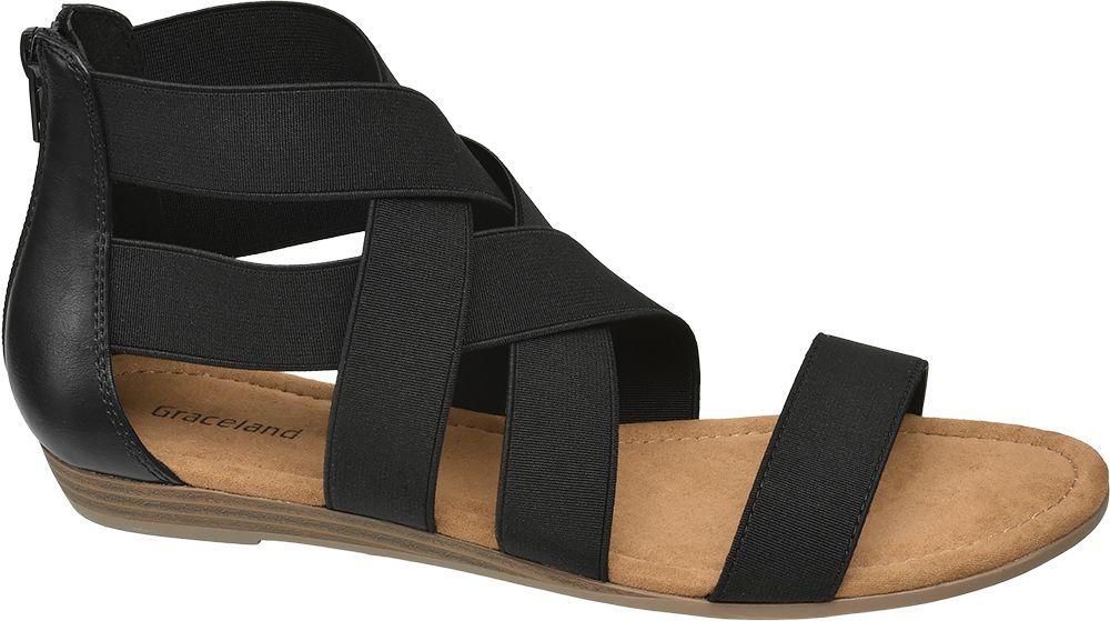 czarne sandały damskie Graceland z elastycznymi paskami