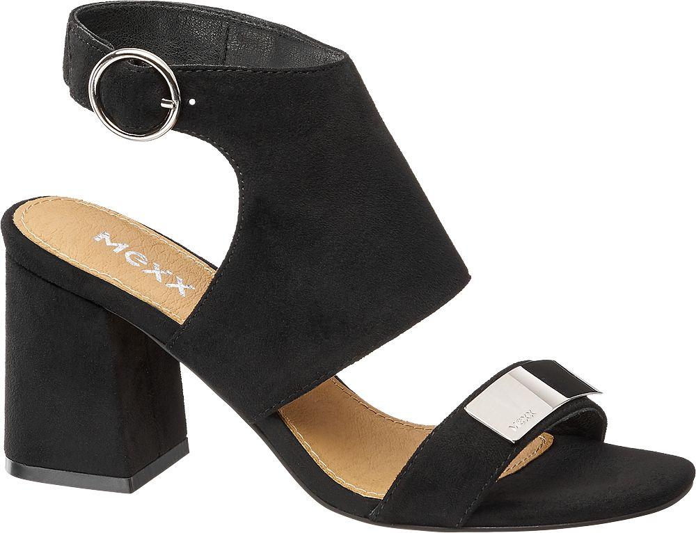 czarne sandały damskie MEXX na obcasie