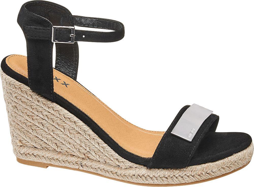czarne sandały damskie Mexx na koturnie