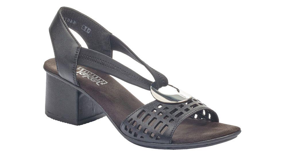 czarne sandały damskie Rieker na obcasie
