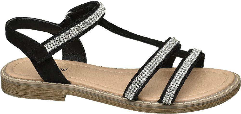 czarne sandały dziewczęce Graceland odobione kryształkami