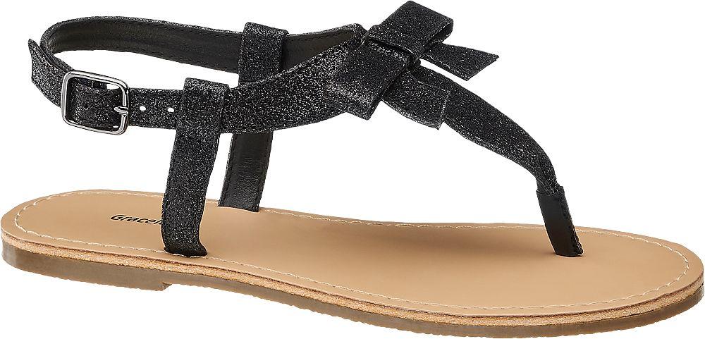 czarne sandały dziewczęce Graceland typu japonki