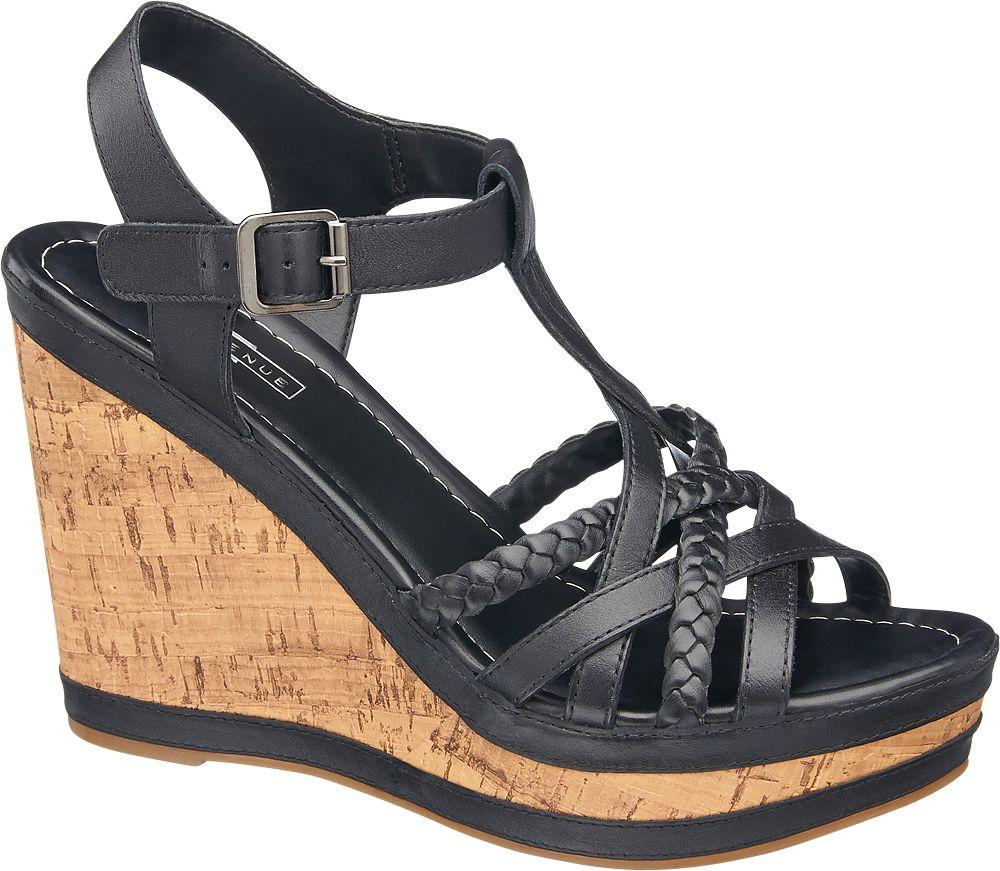 czarne sandały na koturnie 5th Avenue
