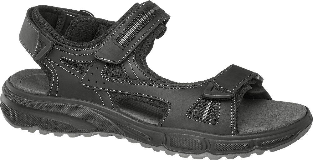 czarne skórzane sandały męskie Gallus