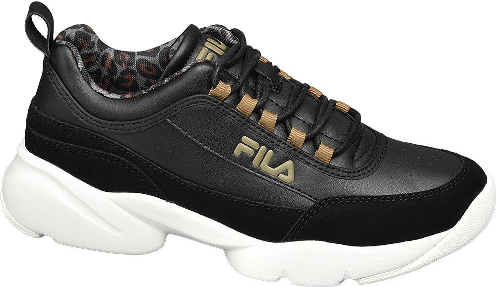 czarne sneakersy damskie Fila na białej podeszwie