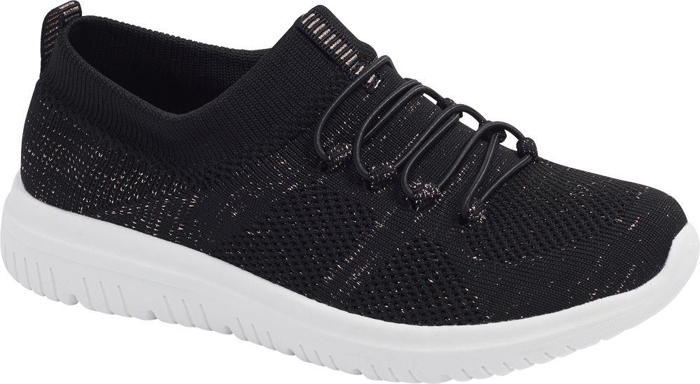 czarne sneakersy damskie Graceland na białej podeszwie