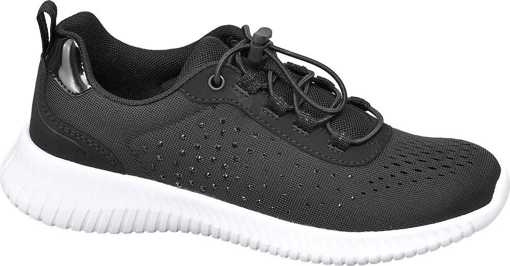 czarne sneakersy damskie Graceland z błyszczącymi elementami