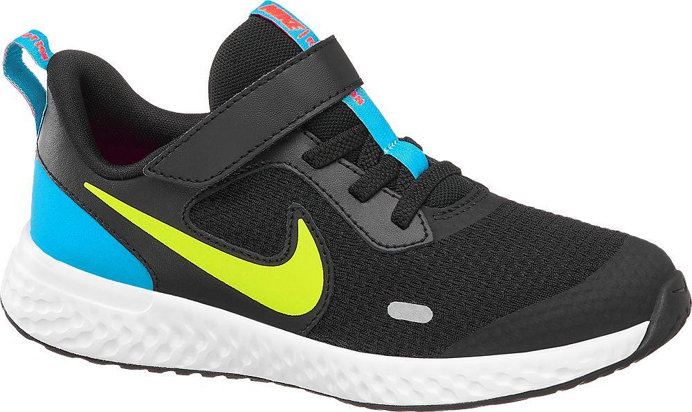 czarne sneakersy dziecięce Nike Revolution 5 z niebieskimi elementami