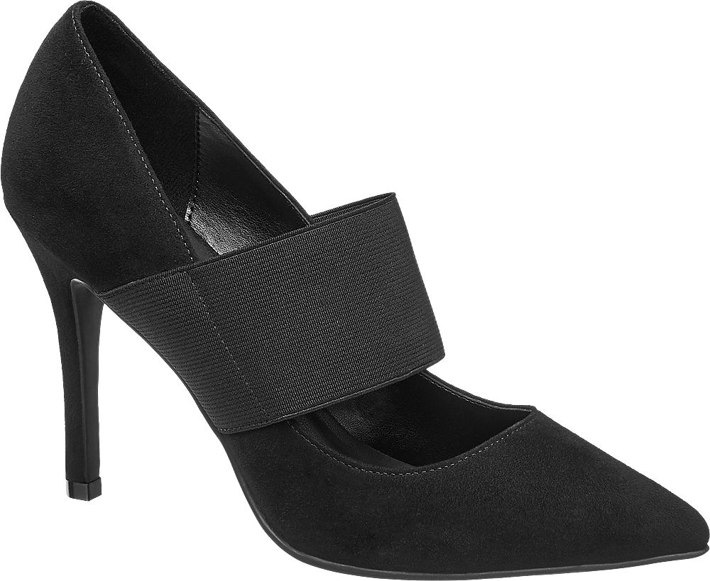 czarne szpilki damskie Graceland z elastycznym paskiem