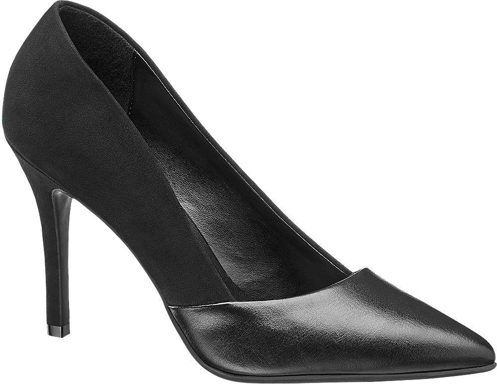 czarne szpilki damskie Graceland ze spiczastym noskiem
