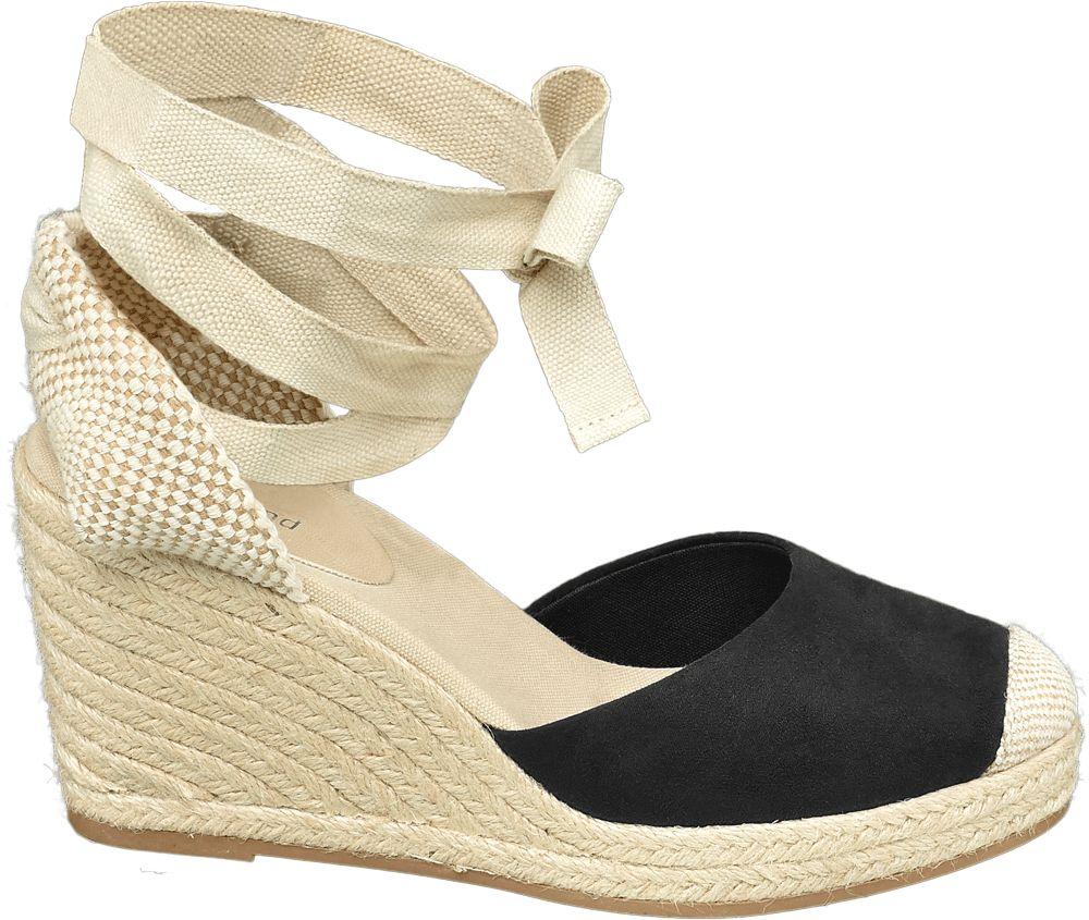czarno-beżowe sandały damskie Graceland na koturnie