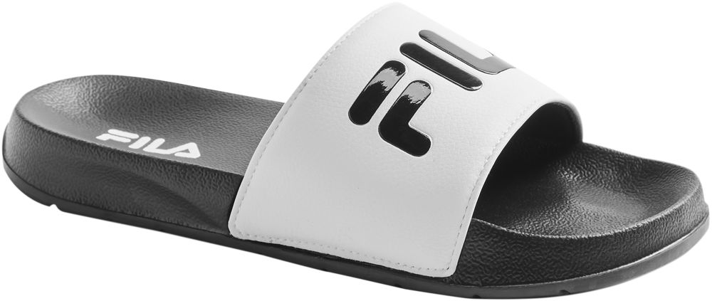 czarno-białe klapki damskie Fila