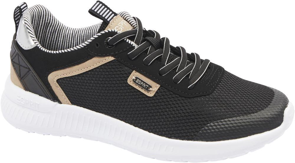 czarno-białe sneakersy damskie Esprit z brązowymi elementami