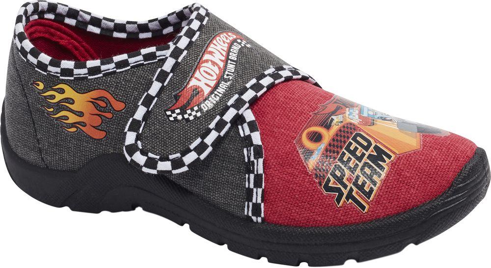 czarno-czerwone kapcie chłopięce Hot Wheels