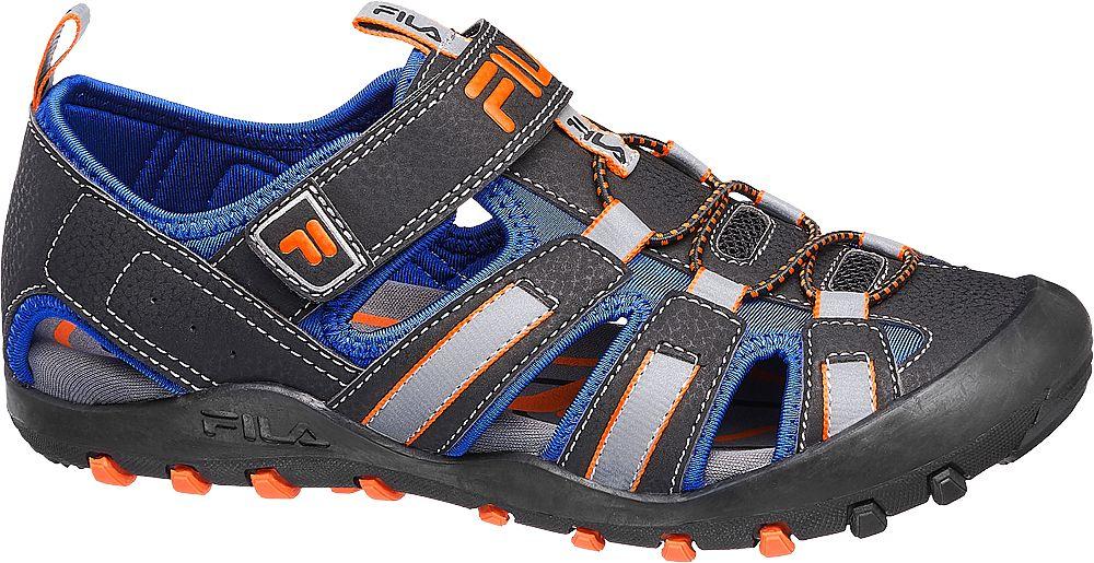 czarno-niebieskie sandały chłopięce Fila z zapięciem na rzep