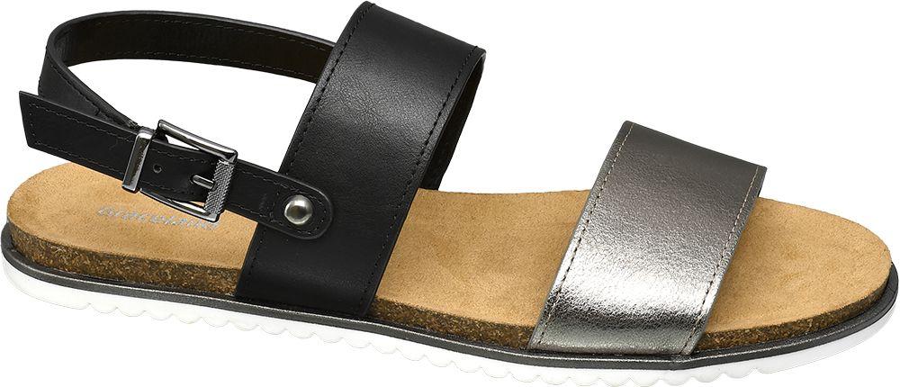 czarno-srebrne płaskie sandały damskie Graceland