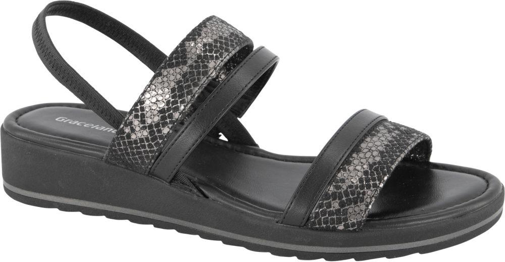 czarno-szare sandały damskie Easy Street na wygodnej podeszwie