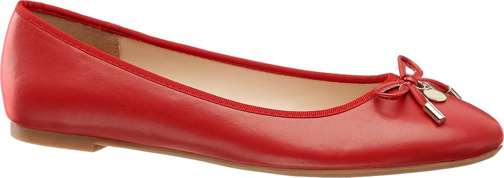 czerwone baleriny damskie Graceland z kokardką
