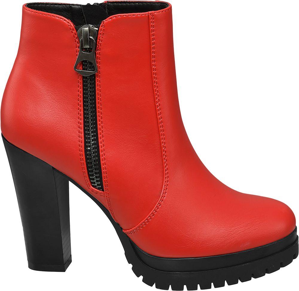 czerwone botki damskie Catwalk na czarnym obcasie