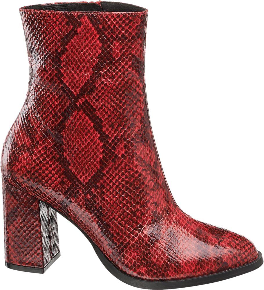 czerwone botki damskie Vero Moda wężowy wzór