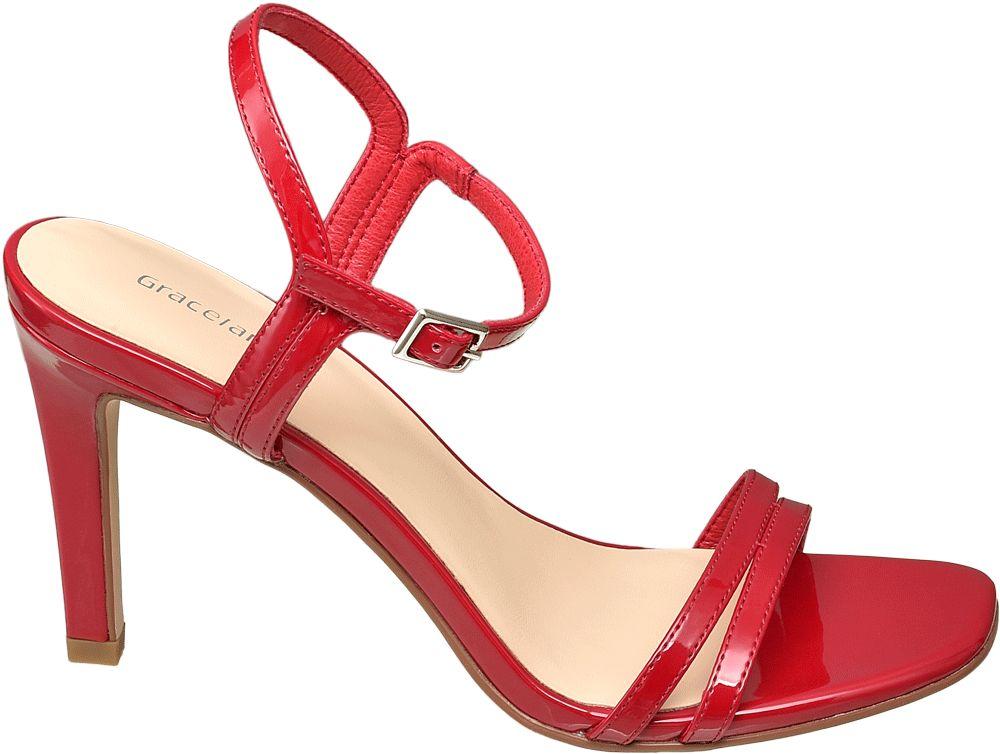 czerwone sandałki damskie Graceland na obcasie