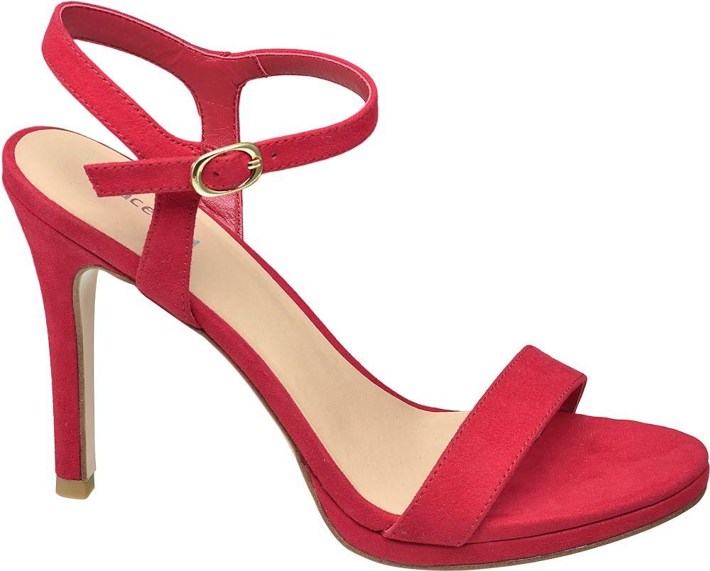 czerwone sandałki damskie Graceland na szpilce