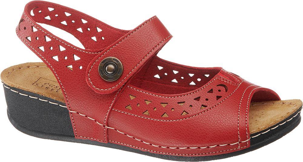czerwone sandały damskie Easy Street zapinane na paseczek