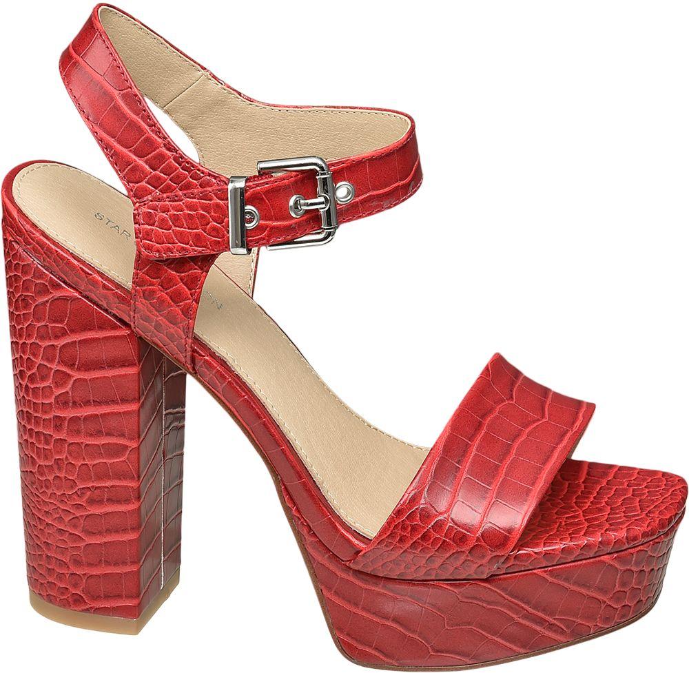 czerwone sandały damskie Star Collection na słupku