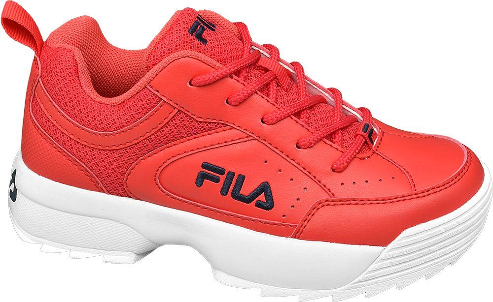 czerwone sneakersy dziecięce Fila na białej podeszwie