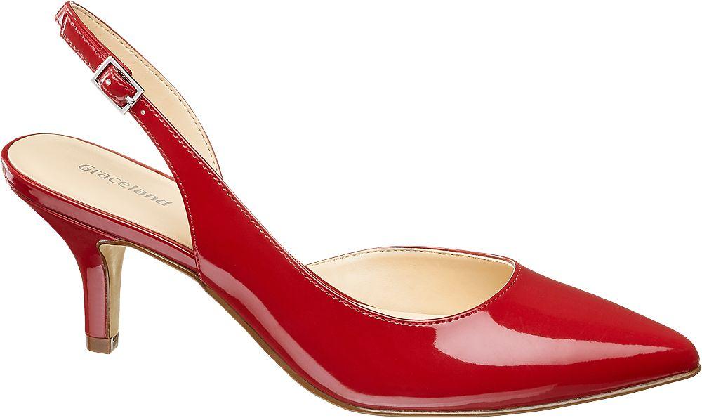 czerwone szpilki damskie Graceland typu sling