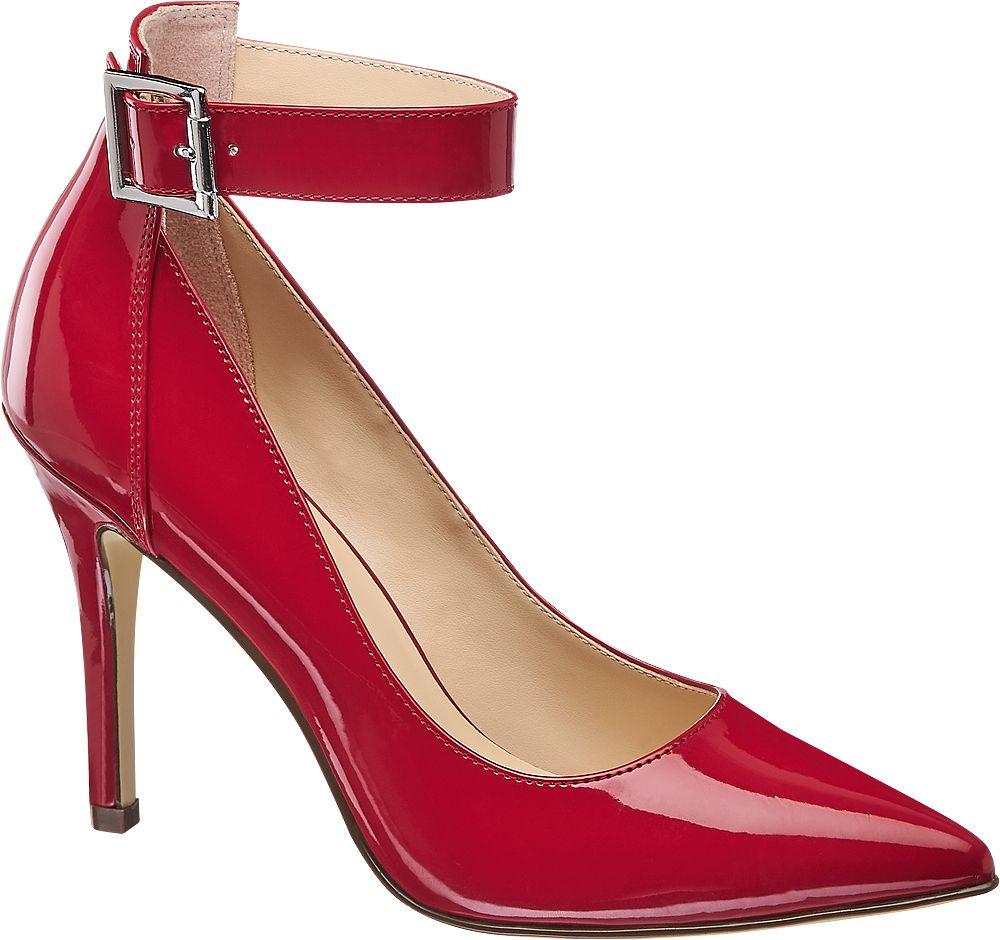 czerwone szpilki damskie Graceland z paseczkiem wokół kostki