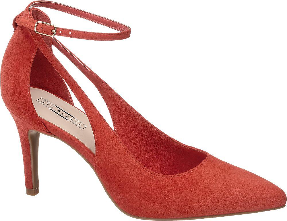 czerwone szpilki damskie 5th Avenue z paseczkiem