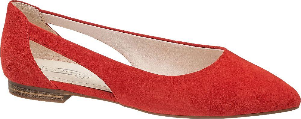 czerwone zamszowe baleriny damskie 5th Avenue