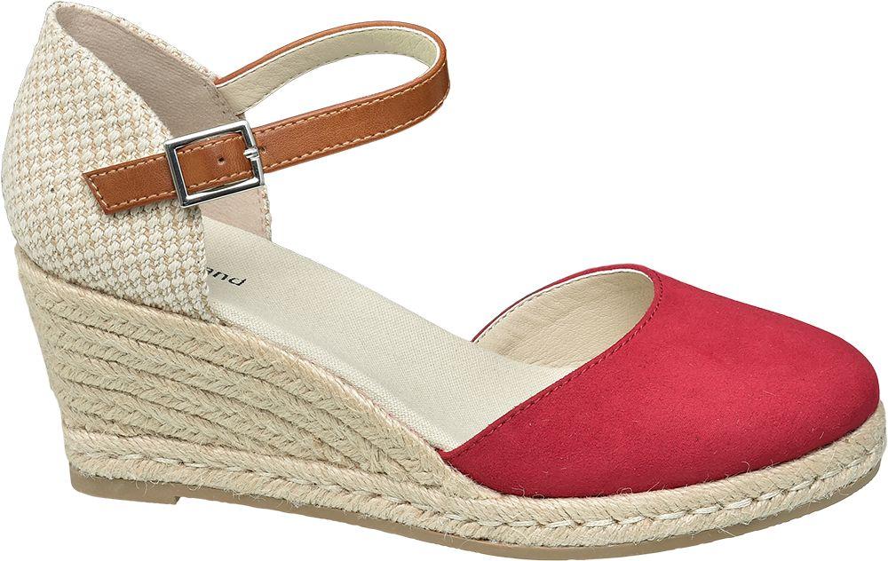 czerwono-beżowe sandały Graceland na koturnie