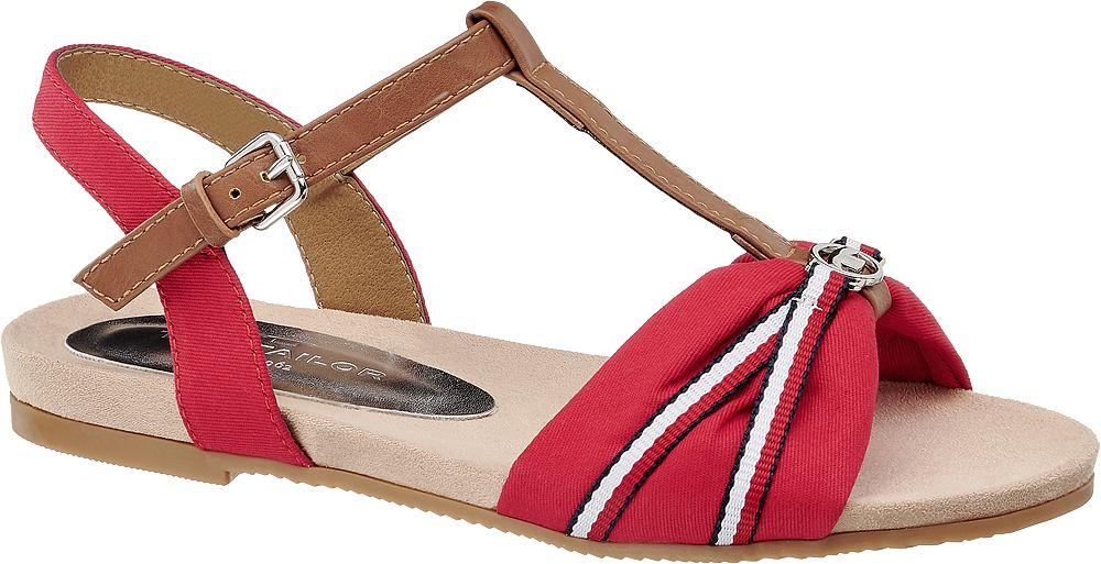 czerwono-brązowe sandały damskie Tom Tailor