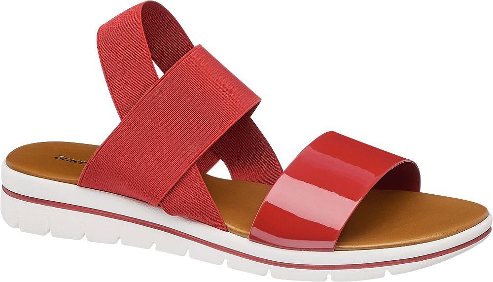 czewone płaskie sandały damskie Graceland