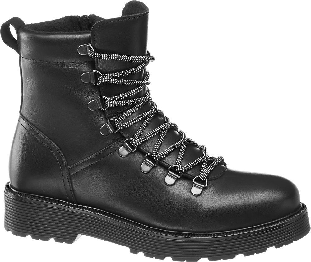 Deichmann - 5th Avenue Černá kožená šněrovací obuv 5th Avenue se zipem 38 černá
