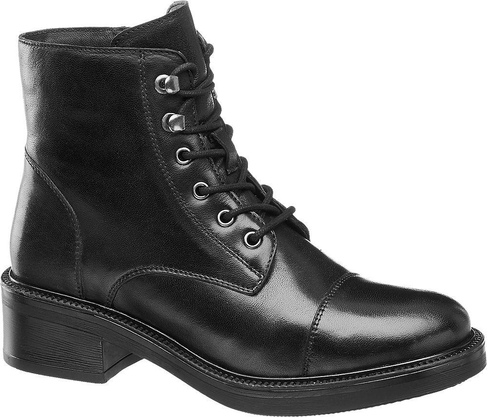 Deichmann - 5th Avenue Černá kožená šněrovací obuv 5th Avenue se zipem 39 černá