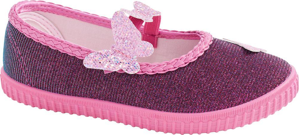 fioletowe kapcie dziewczęce Cupcake Couture z cekinowymi motylkami