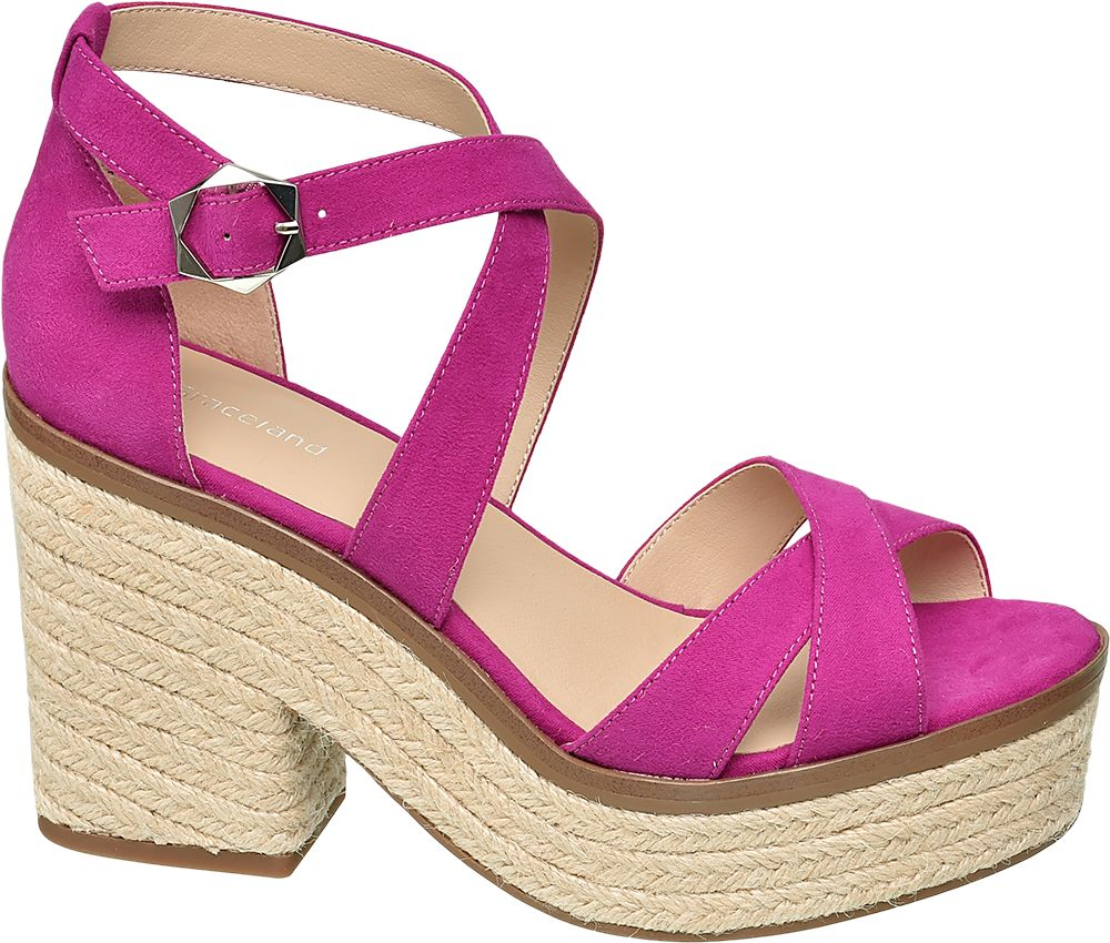 fuksjowe sandały damskie Graceland na obcasie