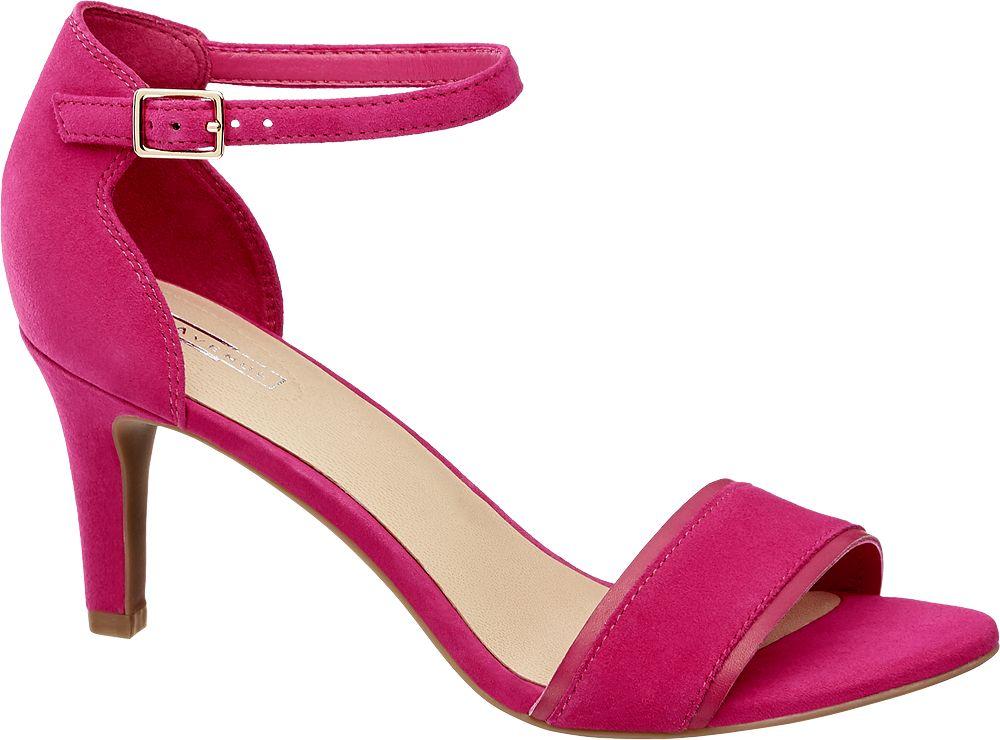 fuksjowe sandały damskie 5th Avenue na obcasie